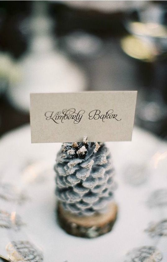 Adorn your winter wedding with upcycled DIY frosty pinecones for the perfect seasonal decor.
