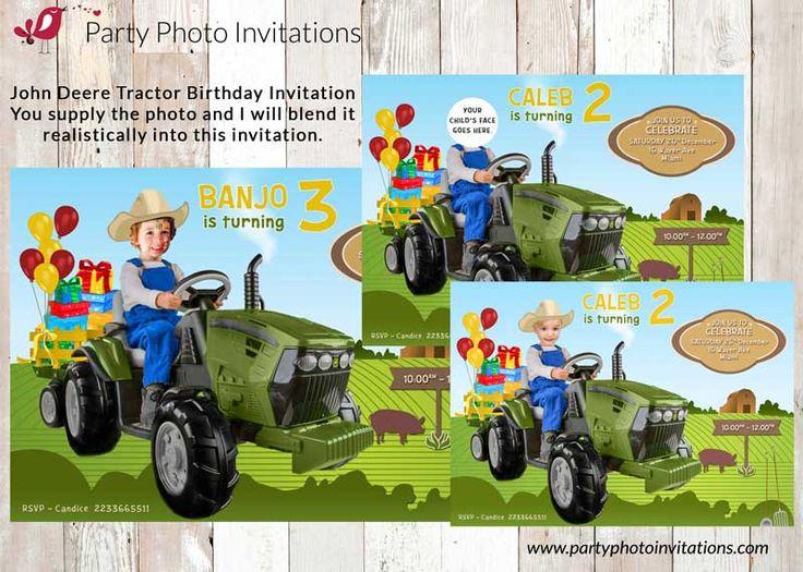 48 best Boys Birthday Party Invitations images – John Deere Tractor Birthday Invitations