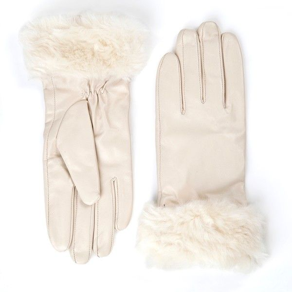 'Lynette' Cream Leather Gloves (£27) ❤ liked on Polyvore featuring accessories, gloves, cream, lined gloves, palm gloves, faux-fur gloves, synthetic gloves and leather palm gloves