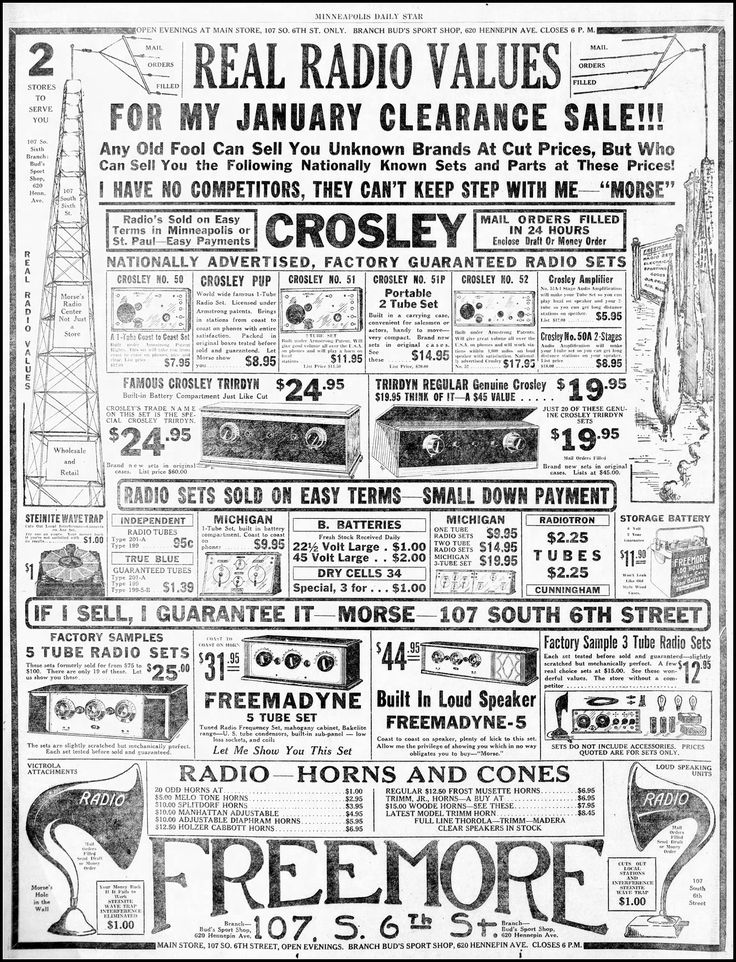 https://flic.kr/p/SJLcdY   Vintage Newspaper Advertising For 1920s Era Radios In The Minneapolis Minnesota Daily Star Newspaper, January 2, 1926   Advertising from the Golden Age of Radio in the 1920s.