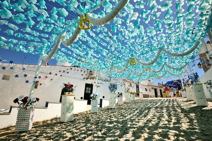 Wonderful paper flowers in the Festas do Povo (People Festivities), Campo Maior. Alentejo, Portugal