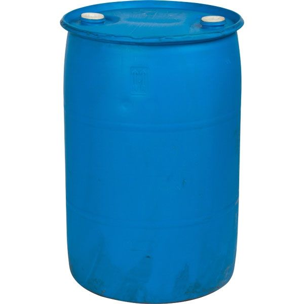 "55 Gallon Blue Tight Head Plastic Drum, Reconditioned, UN Rated, Two 2"" Fittings"