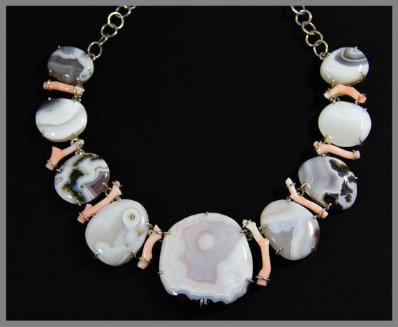 The Salmon Pink Coral & Botswana Agate Necklace / Silver /