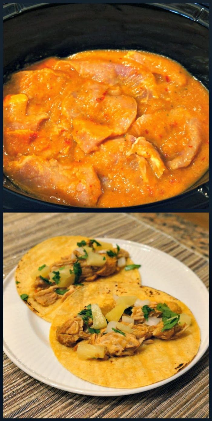 al pastor {pork and pineapple} tacos in the slow cooker. Ridiculously ...