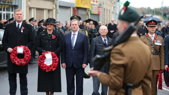 First Minister Arlene Foster and Taoiseach (Irish Prime Minister) Enda Kenny paid their respects in Enniskillen on Sunday
