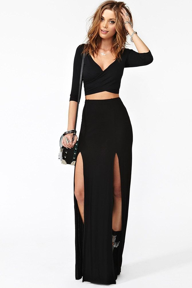 high slit black skirt black high waisted side double 2 slit maxi skirt formal 4346