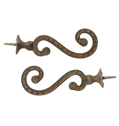 Pair of Cast Brass Victorian Hall Tree Hooks