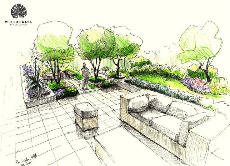 Landscape Architecture Design Designs Drawings Formal Gardens Modern Terraced Garden Architectural Sketches