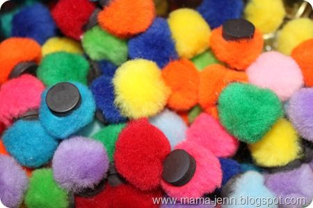 Magnetic Pom-poms, great for fine motor skills, use for do-a-dots, etc.: