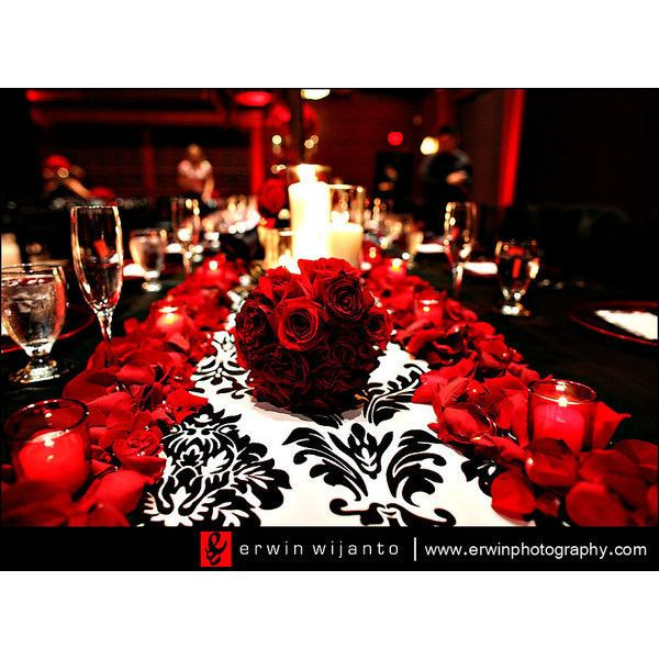 Wedding, Flowers, Reception, Red, Black - Project Wedding found on Polyvore