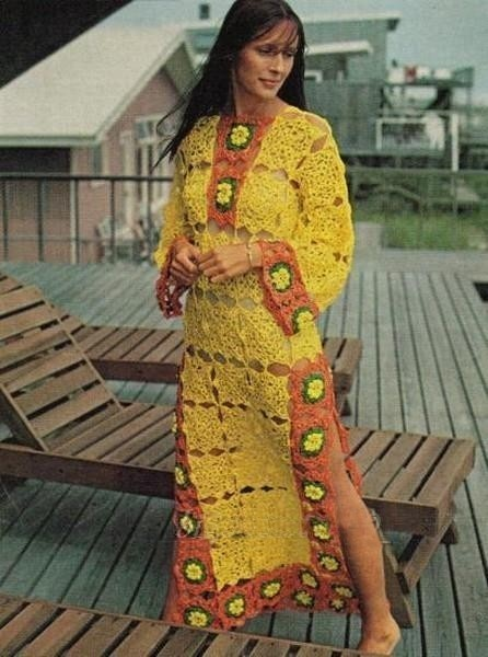 Crochet Pattern Boho Yummy Colors  BEACH COVER UP with sexy side slits. $5.00, via Etsy.