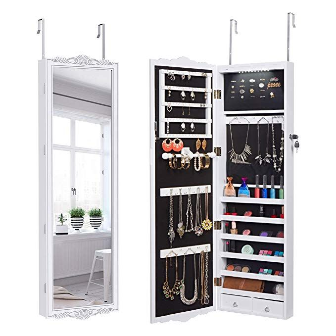Wall Mounted Jewelry Armoire, Mirror With Jewelry Storage Ikea