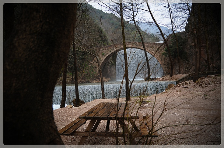 The old arched waterfall bridge of village Palaiokarias!