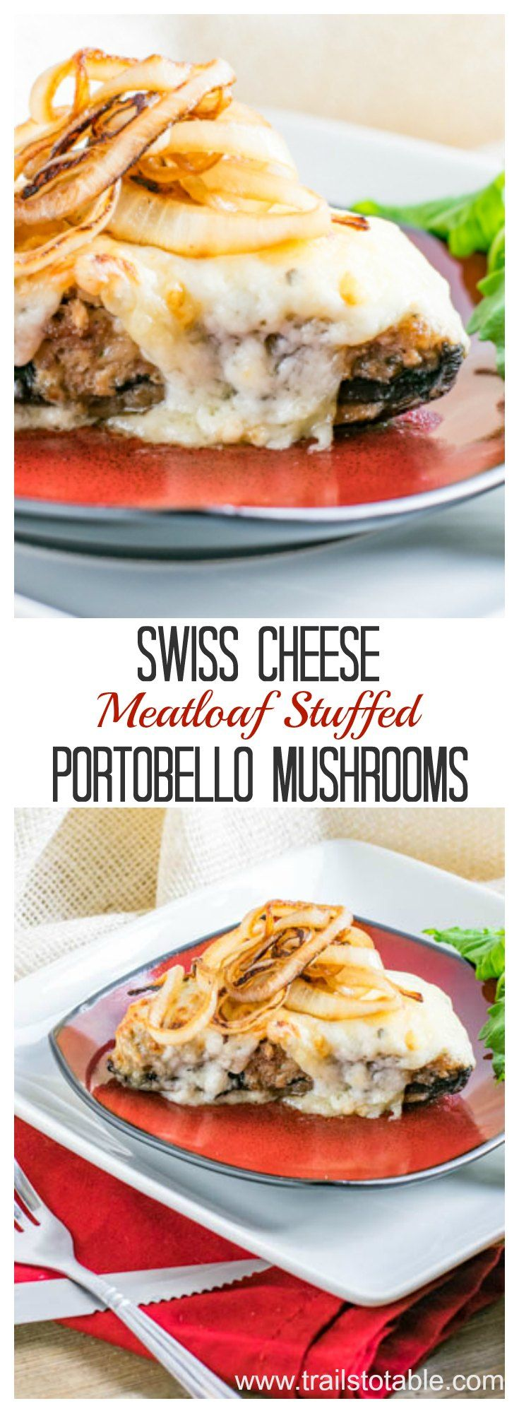 Swiss Meatloaf Stuffed Portobello Mushrooms. Oven baked portobellos stuffed with a delicious meatloaf filling, and topped with a Swiss Cheese sauce!