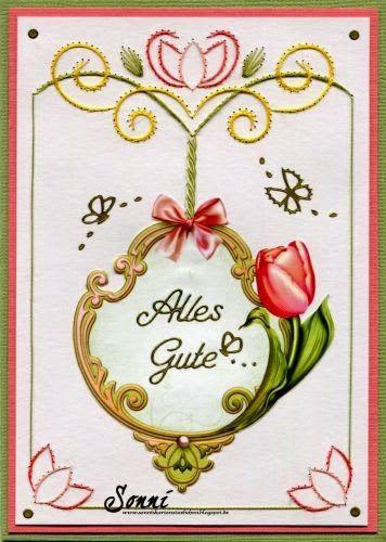 Stitch a Card (Vorlage a491) und 3d Bogen (APA3D006) von Ann´s Paper Art (Stitch a Card sind vorgeprickelte Kartenaufleger)