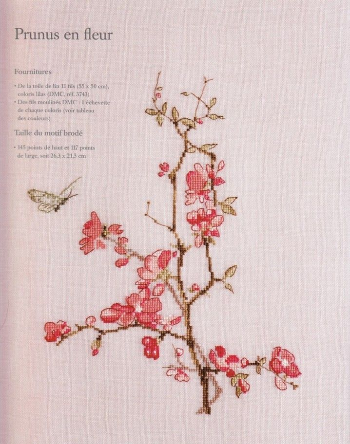 Cross stitch pattern. Flower. Cherry blossoms. Butterfly.