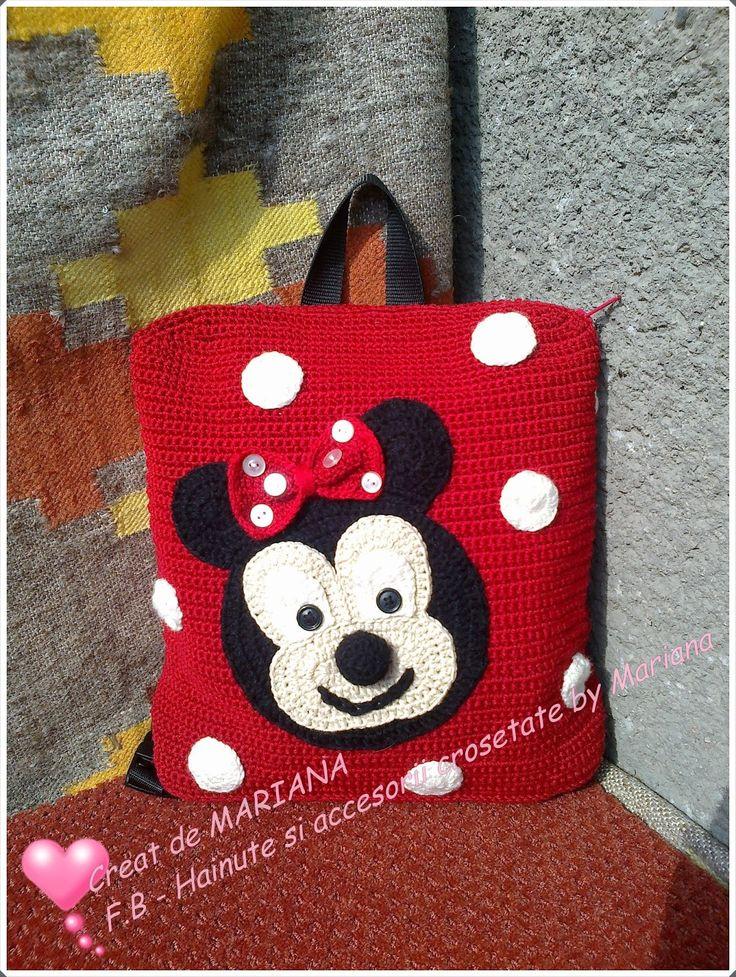 Hainute si accesorii crosetate by Mariana: Rucsacel Minnie Mouse