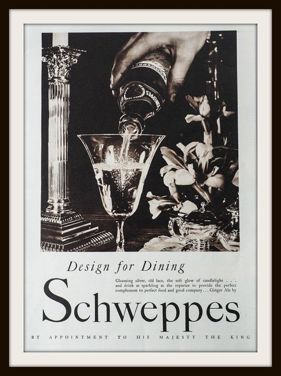 1934 Schweppes Ginger Ale Advertisement. Design for drinking - Schweppes ginger ale. 1934 Schweppes Ginger Ale Advertisement. Vintage Schweppes ad. Vintage beverage ad. Vintage ginger ale ad.