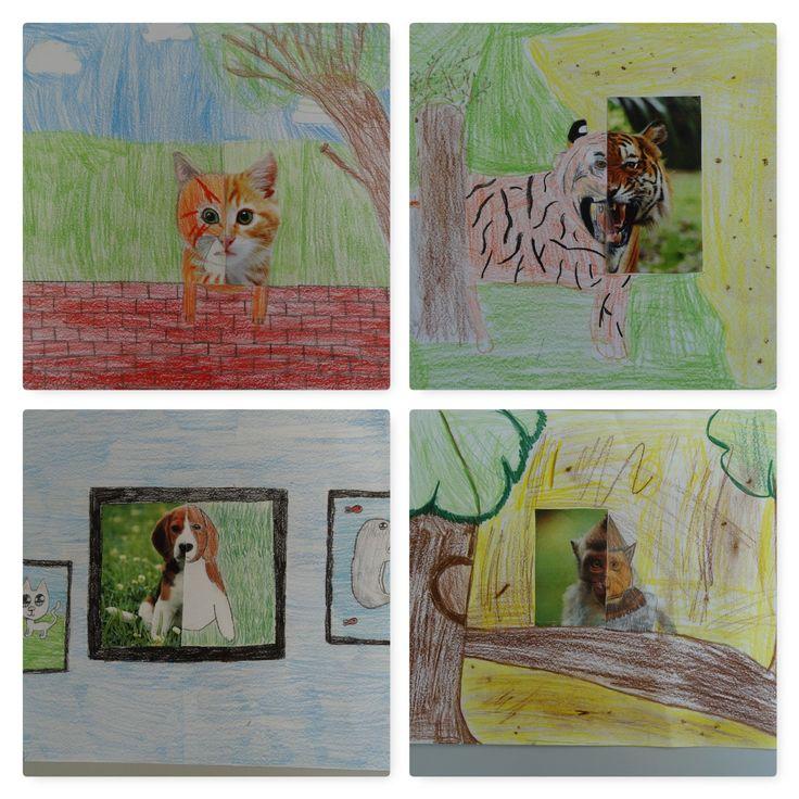 Tekenopdracht met halve foto. Voor deze tekenopdracht heb ik verschillende dierenplaatjes gezocht. Deze plaatjes heb ik gehalveerd en in enveloppen gedaan.