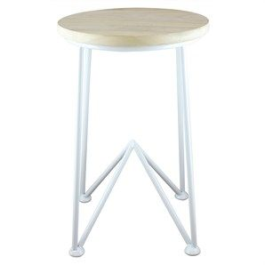 Anjorn Metal Stool with Wooden Seat