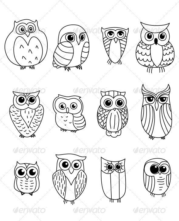 Cartoon Owls and Owlets #GraphicRiver Cartoon owls and owlets birds isolated on white background. Editable EPS8 – die. mause