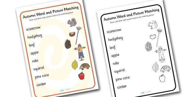 Twinkl Resources >> Autumn Word And Picture Matching