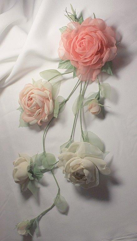 """Купить Комплект для невесты """"Лесная нимфа"""" - свадебный комплект, цветы из ткани, украшение для невесты"""