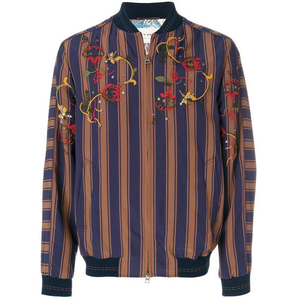 Etro embroidered striped bomber jacket ($3,805) ❤ liked on Polyvore featuring men's fashion, men's clothing, men's outerwear, men's jackets, blue, etro mens jacket, mens striped jacket, men's embroidered bomber jacket, mens blue jacket and mens embroidered jacket
