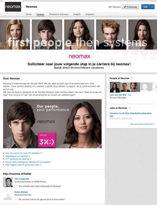 Kijk ook voor onze vacatures via #LinkedIn. #ICT #vacatures #zoektwerk http://www.linkedin.com/company/neomax/careers