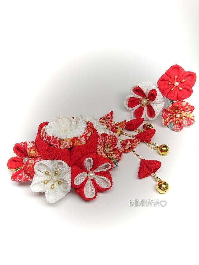 #41# 赤×白 紅白の晴れの日 髪飾り。+☆つまみ細工 髪飾り♡