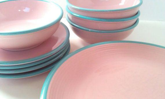 MidCentury RIO Stoneware Dinnerware Set Made by ColorfulTangerines, $150.00