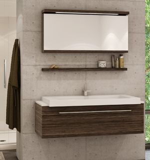 Put A Wall Mounted Shelf Between The Vanity And Mirror For Those Everyday Used Items