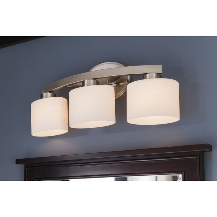 74 Shop Allen Roth 3 Light Merington Brushed Nickel Standard Bathroom Vanity Light At