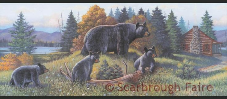 Black Bear Lodge Wallpaper Border Wl5627b Rustic Log