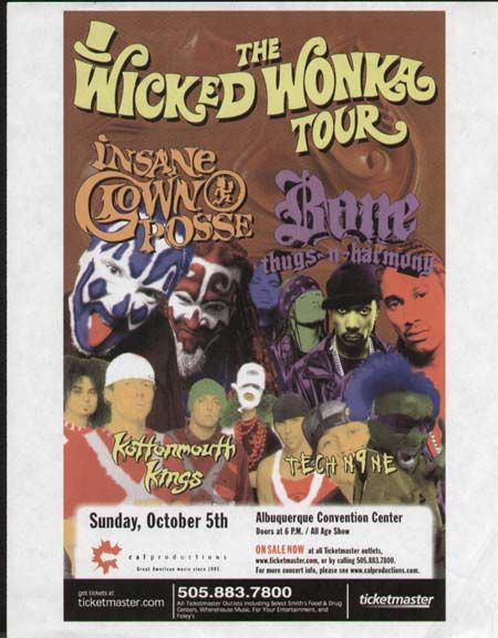 Original concert flyer for Insane Clown Posse's Wicked Wonka Tour featuring Bone Thugs-N-Harmony, Kottonmouth Kings, and Tech N9ne in Albuquerque NM 2003. 8.5