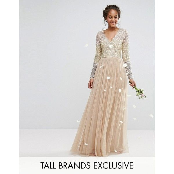 Maya Tall Long Sleeve V Neck Tulle Maxi Dress With Multi Colour Sequin featuring polyvore women's fashion clothing dresses multi colorblock dress long sleeve dresses tulle maxi dress v neck maxi dress long-sleeve maxi dress