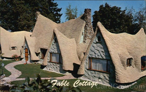 """Fable Cottage -- Victoria, British Columbia  When people say fantasy house these days, they often mean mega-kitchen, great room and bathroom spas.    Saanich resident Bernard Rogers built the real thing: Fable Cottage on the waterfront of Cordova Bay. The apple green 1950s family home boasted a fairytale façade with many """"thatched"""" gables that nearly touched the ground.  http://www.saywardhill.com/blog/?p=278"""
