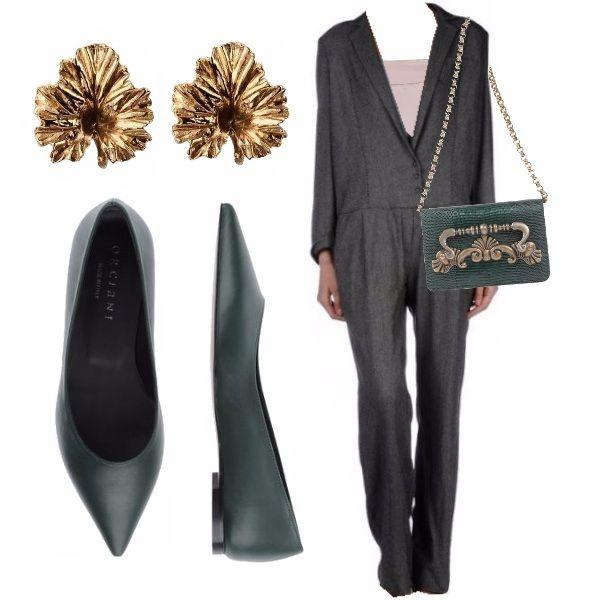 Incantevole ed insolito outfit elegante. La jumpsuit grigio scuro dal taglio particolare, simile ad un tailleur, è abbinata ad un top rosa di seta. Il tocco speciale è dato dalla meravigliosa borsa firmata D&G e dalle ballerine a punta, entrambe di una splendida tonalità di verde.