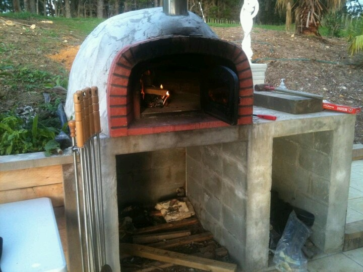Starting the pizza oven