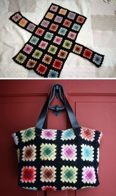 Inspiration :: Granny square tote bag, lightly felted wool yarn. General description of how she made it on the web site. #crochet