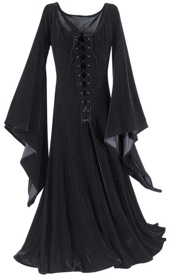 Gowns Pagan Wicca Witch:  Witching Hour Dress.  Night is her day. . . moonlight, her sunshine. This floor-length sensation flourishes in the Witching hours---a sumptuous, stretch-velvet dress with grommetted, crisscross front lacing and long, tapering bell sleeves that trail from the wrists.