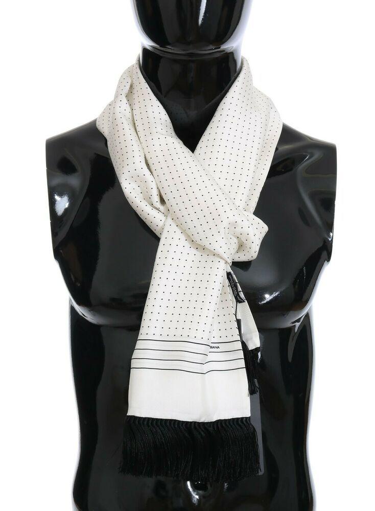 New 500 Dolce Gabbana Scarf White 100 Silk Polka Dot Shawl Wrap S 32x180cm 8058696597771 Ebay White Silk Scarf Polka Dot Scarf Dolce And Gabbana