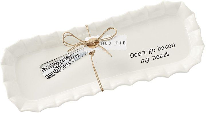"""Mud Pie Bacon Tray & Tongs Set -2-piece set features:vintage-style """"makin' bacon""""-stamped silver-plated tongs ceramic tray with ruffle-fluted rim and """"don't go bacon my heart"""" sentiment. #ad #bacon #gift #tray #kitchen #farmhouse #myredshoestories"""