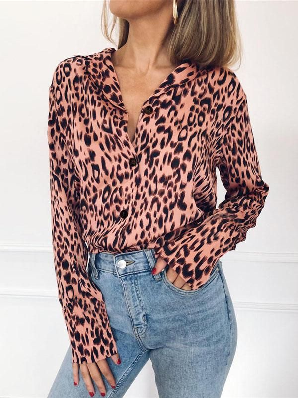 d6be82bc2886f2 V-neck Leopard Bohemia Blouse Top in 2019 | dress styles | Chiffon ...