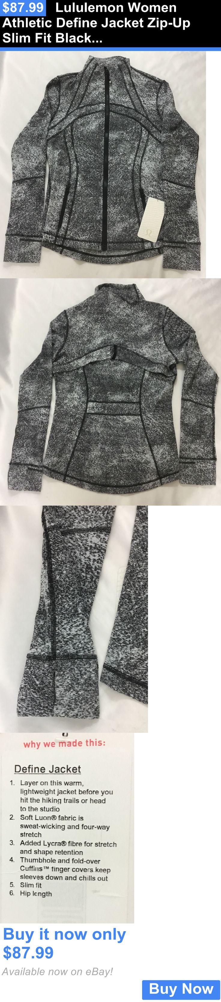 Women Athletics: Lululemon Women Athletic Define Jacket Zip-Up Slim Fit Black White Lsja Print 4 BUY IT NOW ONLY: $87.99