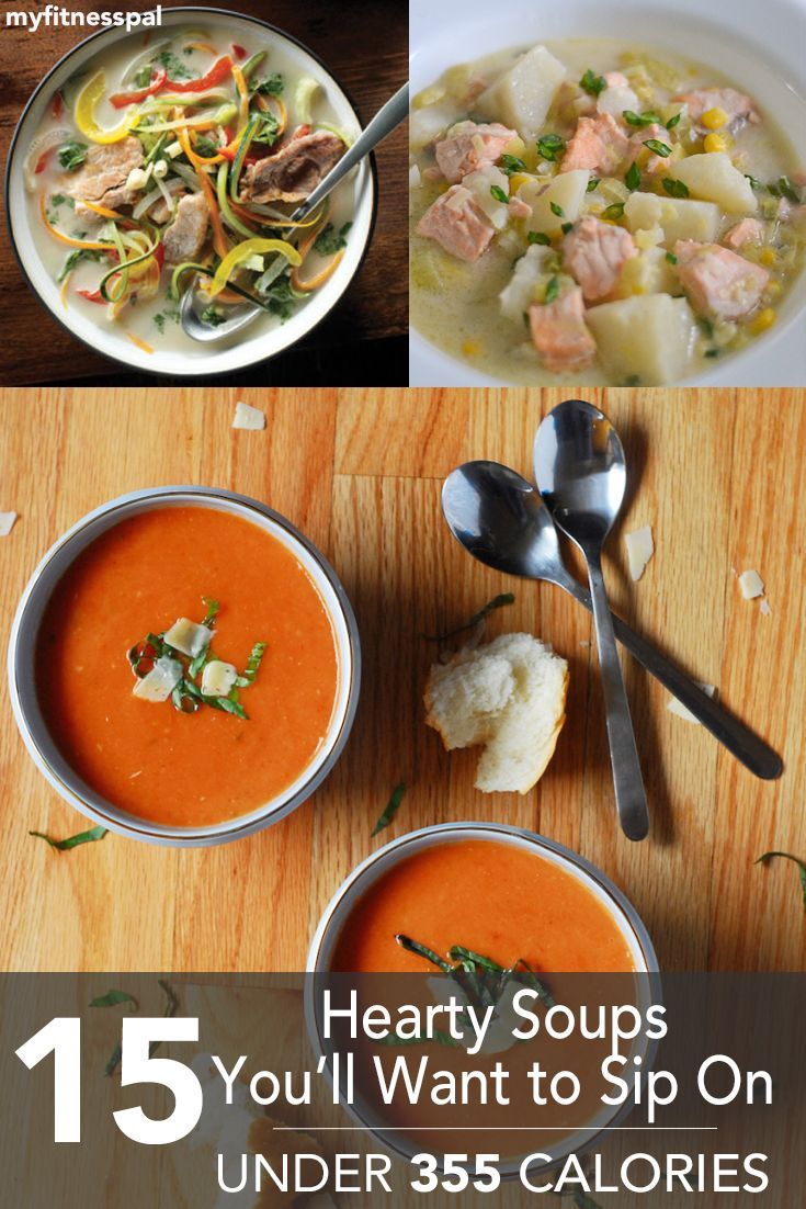 Here are 15 hearty & healthy soup recipes to try--all under 355 calories per serving! https://blog.myfitnesspal.com/15-hearty-soups-youll-want-to-sip-on-under-355-calories/?utm_source=mfp&utm_medium=Pinterest
