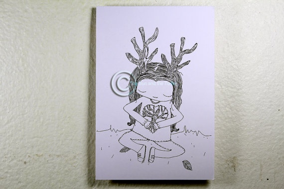Limited edition black and white Art print Tree Girl by thesunandtheturtle, $2.50