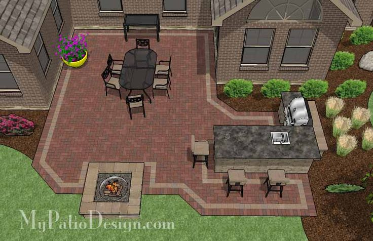 Large Brick Patio Design with Outdoor Kitchen and Stone Fire Pit.   Plan No. 1144rr   Download Installation Plan at MyPatioDesign.com