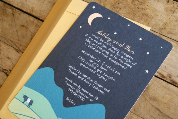 Camping themed engagement party invitations - such a neat idea for a couple who loves camping!