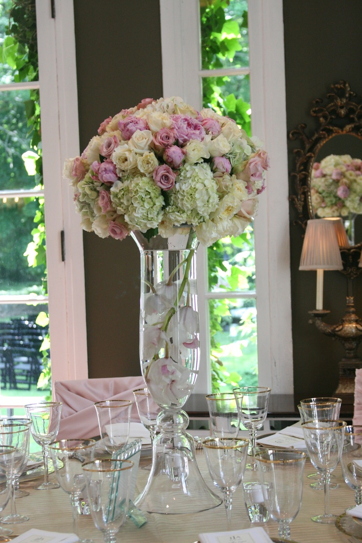 The gallery for gt hydrangea and red rose centerpieces